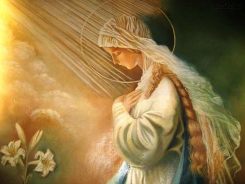 Annonciation,Vierge,Marie,ange,Saint-Esprit,prière,jardin,joie