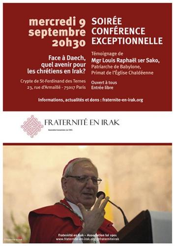 Daech,avenir,chrétiens,Irak,Conférence,Mgr Louis Sako,9 septembre,Paris