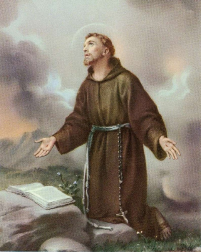 St François d'Assise,salutation,Vierge Marie,Mère de Dieu,Fils,Esprit-Saint,servante,grâce,tabernacle,demeure,palais,vêtement,vertu