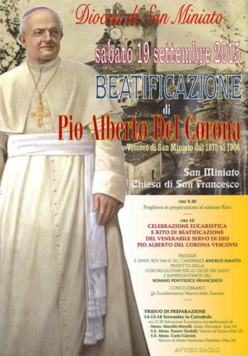 béatification,Pio Alberto Del Corona,évêque,Miniato
