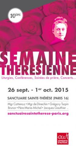 Semaine Thérésienne,Sanctuaire Sainte-Thérèse,Paris,26 septembre,1er octobre