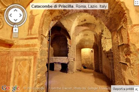 Restauration,Catacombe,Priscille,via Salaria,Rome,Visite,360°,Google Maps
