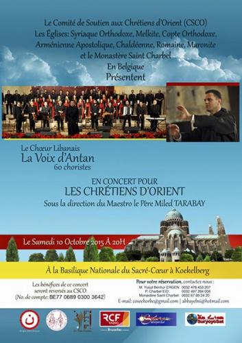 Belgique,Concert,soutien,Chrétiens,Orient,choeur,libanais,La Voix d'Antan