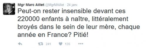 Mgr Aillet,twitter,avortement,IVG,innocents,violence